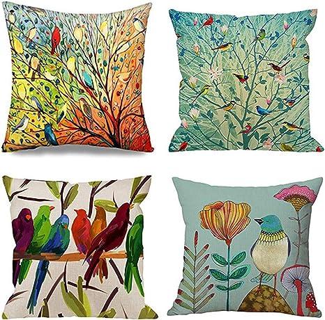 S4Sassy Bird /& Magnolia Living Room Sofa Cushion cover Print 2Pcs-FL-121D
