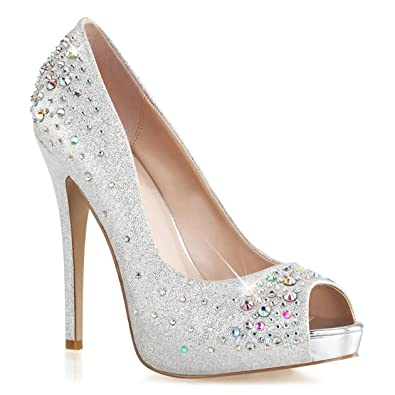 f521dc1915ba Summitfashions Womens Sparkly Silver Peep Toe Pumps Shoes with 5   Heels  and Rhinestone Detail