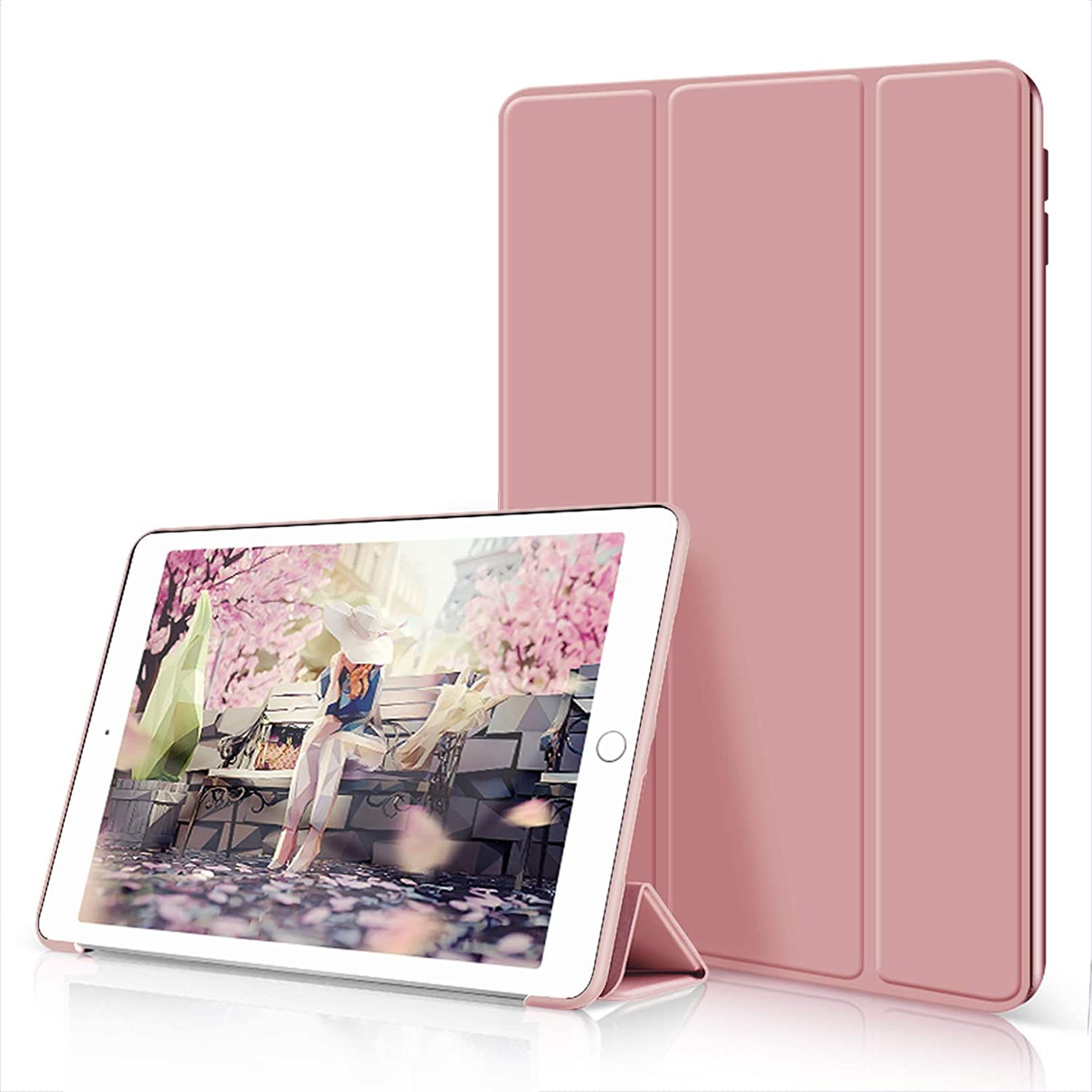 Aoub Case for iPad Mini 1/2/3, Ultra Slim Lightweight Trifold Stand Smart Auto Sleep/Wake Cover, Soft TPU Silicone Back Case for iPad Mini 1st/2nd/3rd Generation 7.9 inch, Rose Gold