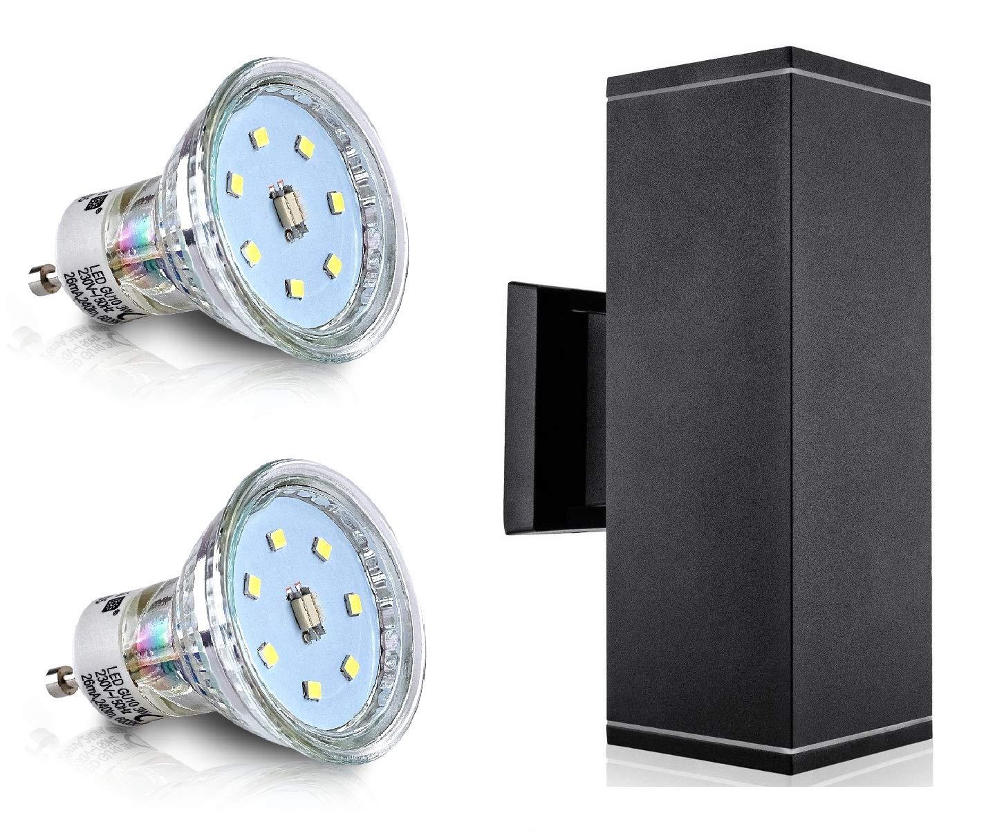 LED Aussenleuchte Aussenlampe Wandlampe Schwarz Wandleuchte PanderLights BILBAO IP44 CE (2x 4W Warmweiß)