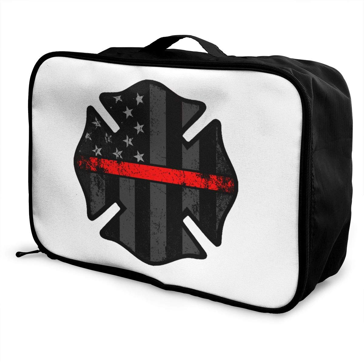 YueLJB Firefighter Thin Red Line Lightweight Large Capacity Portable Luggage Bag Travel Duffel Bag Storage Carry Luggage Duffle Tote Bag