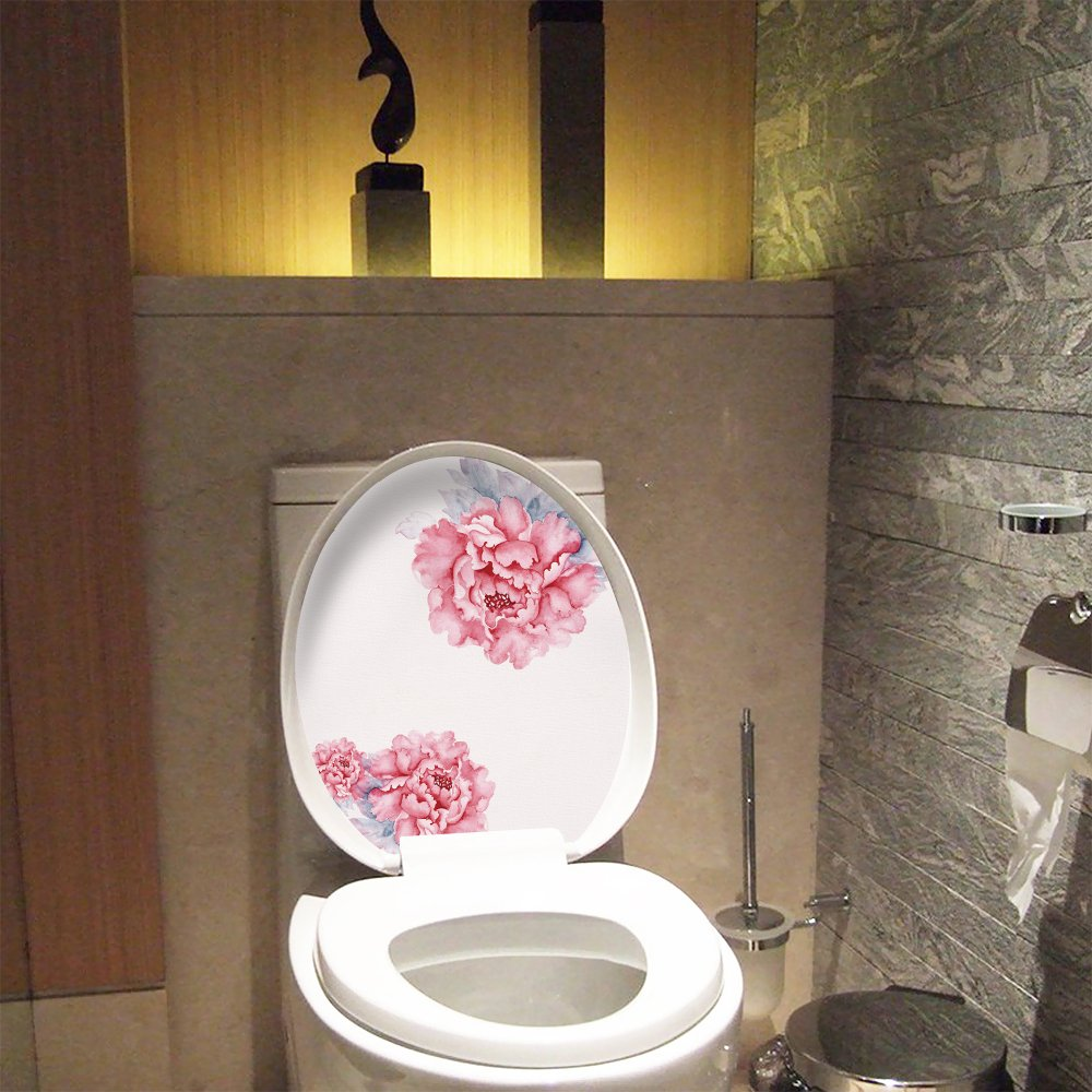 Amazon.com: Wopeite Toilet Lid Stickers No Glue Peony Floral Flowers ...