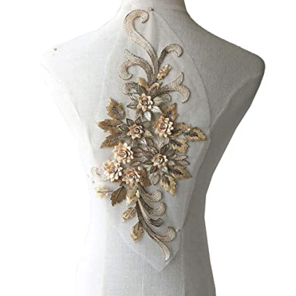 aaa5ae273aa1 Amazon.com: Crystal Floral Applique, Beaded, Sequined Embroidery Flower  Lace Patch Delicate Addition for Prom Dresses Party Costumes Jeans Gold  Color