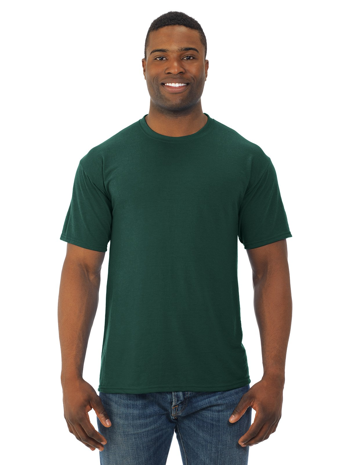 Men's polyester sport t-shirt. (Forest) (Small)
