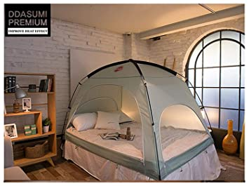 DDASUMI Warm Tent For Double Bed Without Floor (Mint) - Blocking Cold air,  Privacy, Play Indoor Tent