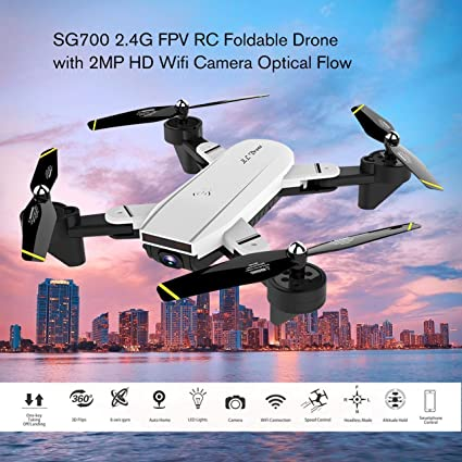 WOSOSYEYO SG700 2.4G RC Drone Quadcopter Plegable con 2MP HD WiFi ...