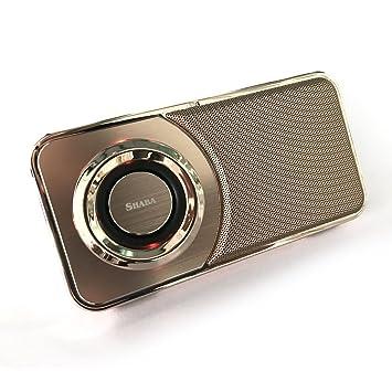 Altavoz portátil Shaba ultra fino, con luz LED, soporte para el teléfono, tarjeta TF / micro SD, radio FM, manos libres y grabación, para iPhone, ...