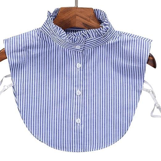 VIccoo Camisa de Cuello de Mezclilla a Rayas de Moda para Mujer ...