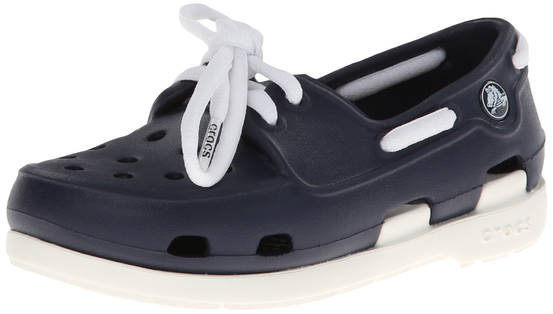 crocs Beach Line Lace PS Boat Shoe (Toddler/Little Kid),Navy/White,10 M US Toddler