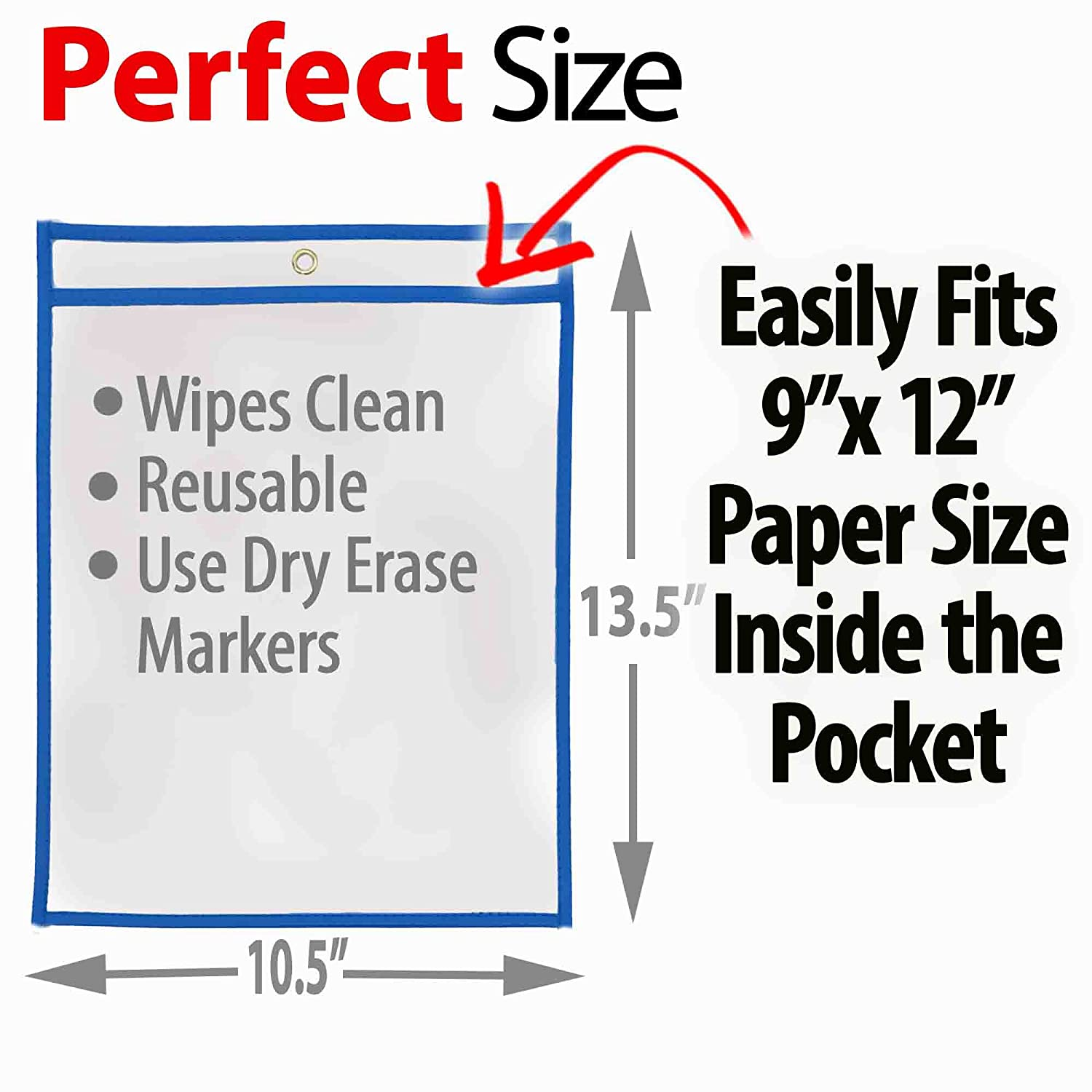 Wipes Clean 20 Pack Multicolored Pockets iPrimio Dry Erase Learning Sheets Fits 9 by 12 Paper in Pocket - Includes 12 Learning Sheets