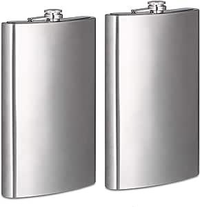 2 x Petaca XXL de acero inoxidable, Fortuna Petaca con 1800 ml capacidad Volumen, fijación Petaca de diseño, plata