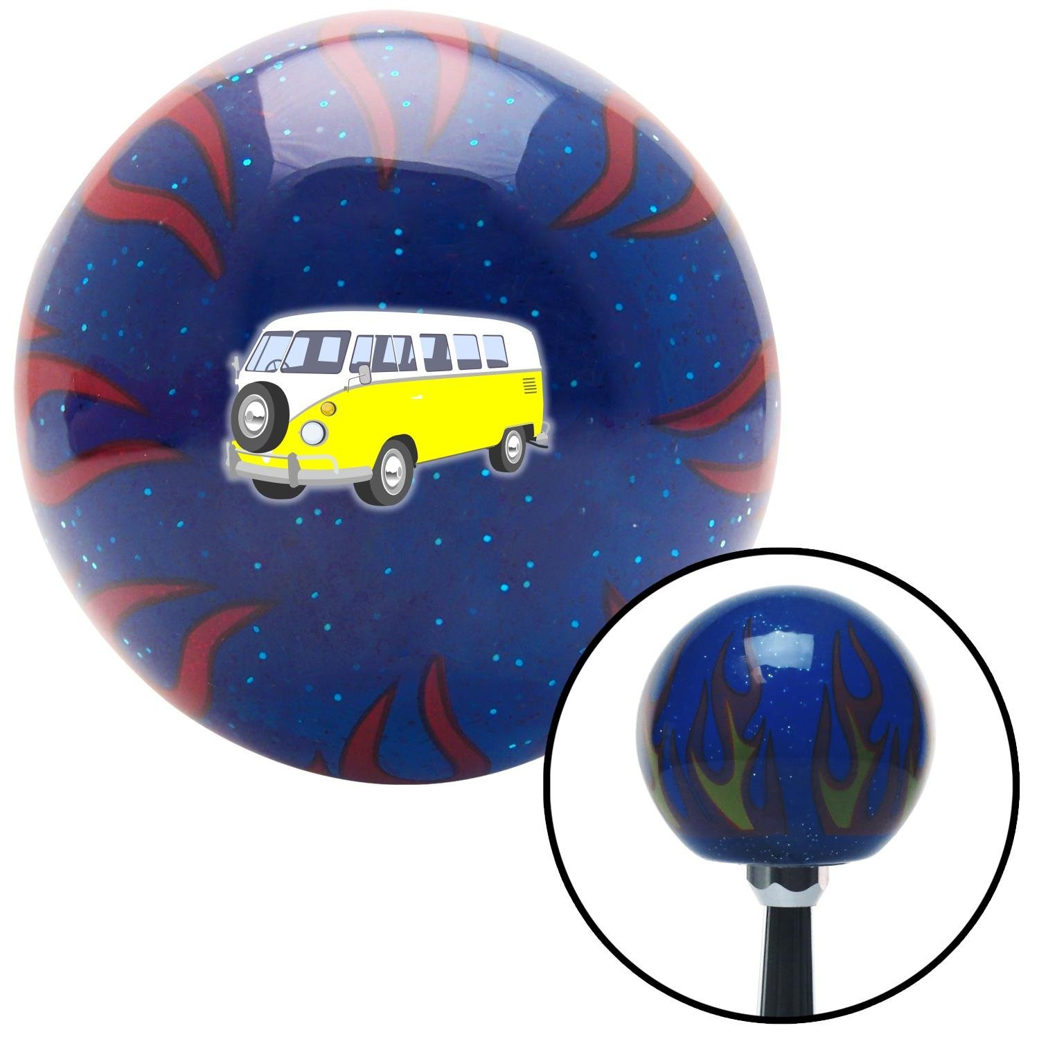 Yellow Camper American Shifter 251883 Blue Flame Metal Flake Shift Knob with M16 x 1.5 Insert