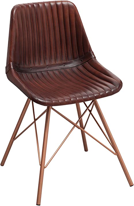 Genuine Leather Brown Quilted Design Dining Chairs Toro Antique Copper Frame Kitchen Chair Leather Office Chair Leather Dining Chair Amazon De Kuche Haushalt