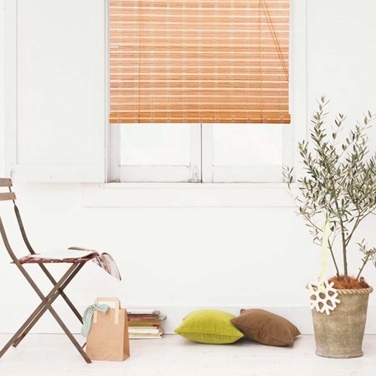 THY COLLECTIBLES Natural Bamboo Roll Up Window Blind Roman Shade Sun Shade WB-9A1 (W42 X H72)