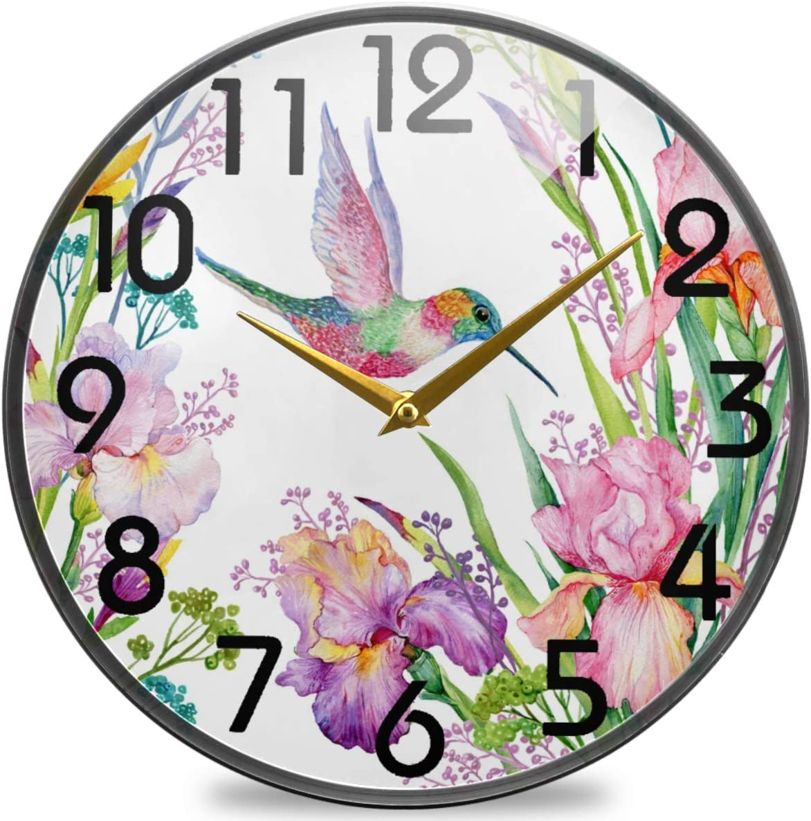 Naanle Spring Tropical Irises Flowers Hummingbirds Round Wall Clock, 9.5 Inch Silent Battery Operated Quartz Analog Quiet Desk Clock for Home,Office,School