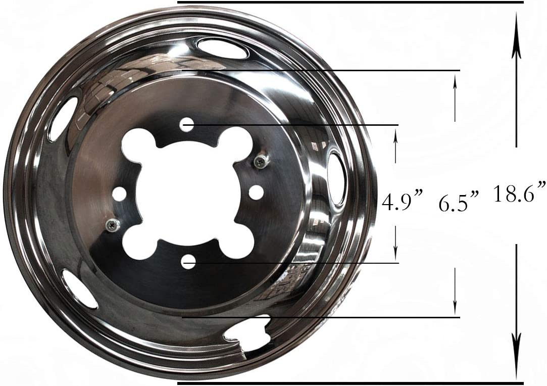 Front+Rear Polished Stainless Steel Dually 8-Lug 5-Hand Hole Wheel Simulators Hub Caps Skins Liners Covers R17 with Removable Centre Caps Compatible with Dodge 03-14 Ram 3500 Dually 4-Piece 17in