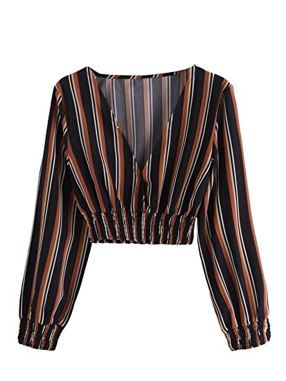 Makemechic Women's Casual Long Sleeve Deep V Neck Striped Chiffon Crop Blouse Top by Makemechic