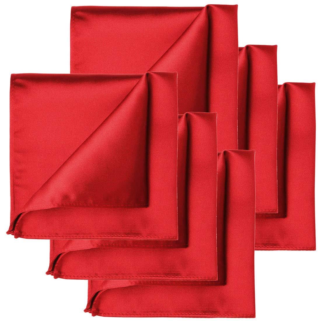 KissTies 6 PCS Red Satin Pocket Square Solid Color Hankies Gift Set