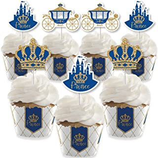 product image for Royal Prince Charming - Cupcake Decoration - Baby Shower or Birthday Party Cupcake Wrappers and Treat Picks Kit - Set of 24