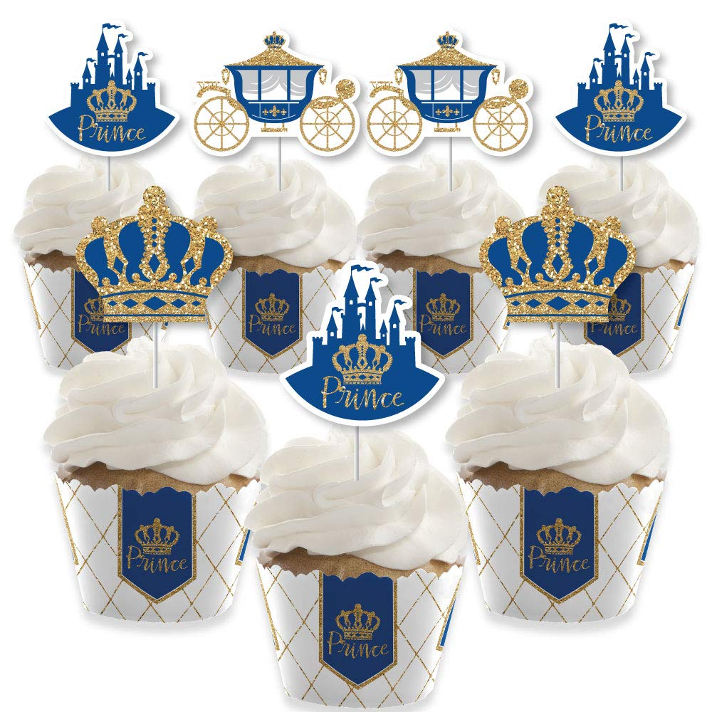 Royal Prince Charming - Cupcake Decoration - Baby Shower or Birthday Party Cupcake Wrappers and Treat Picks Kit - Set of 24