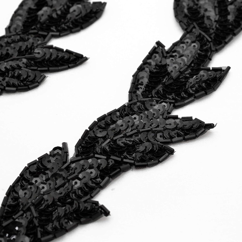 Black Joyce Trim 2-pcs 8-1//2 Sequin /& Beaded Leaf Patch Applique Patch FF-FF511