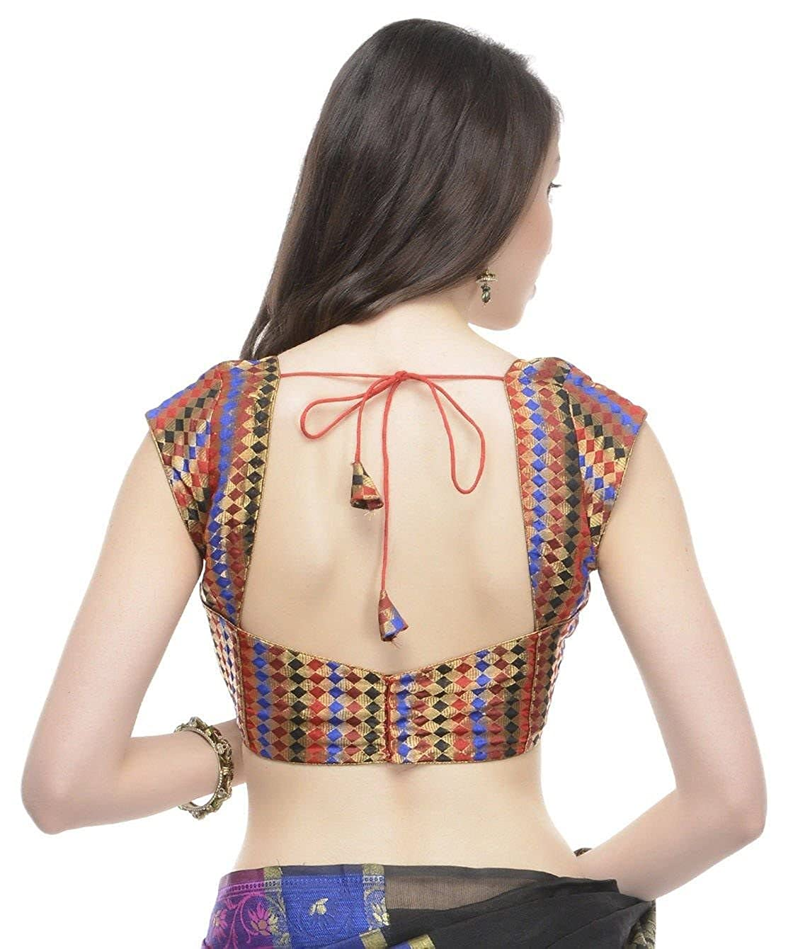 6443228ac8c71d Amazon.com: Short Sleeve Blouse - Multicolor Gold Brocade Saree Dress Top  Fashion Choli 34