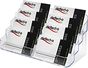 deflecto 70801 Eight-Pocket Business Card Holder, Capacity 400 Cards, Clear