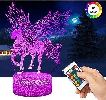 RGB LED noche mesa decoración lámpara lámpara unicornio blanco habitación infantil iluminación