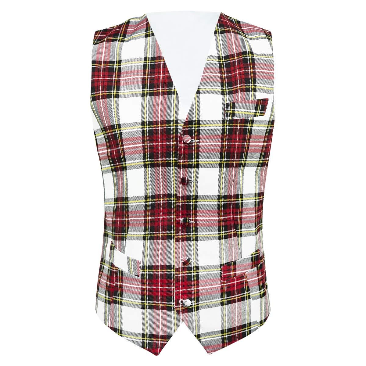 Stewart King /& Priory Traditional White Tartan Check Waistcoat Scottish