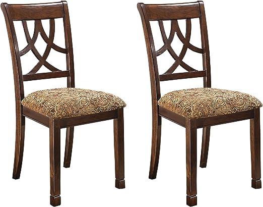 Ashley Furniture Signature Design - Leahlyn Dining Upholstered Side Chair -  Pierced Splat Back - Set of 10 - Medium Brown