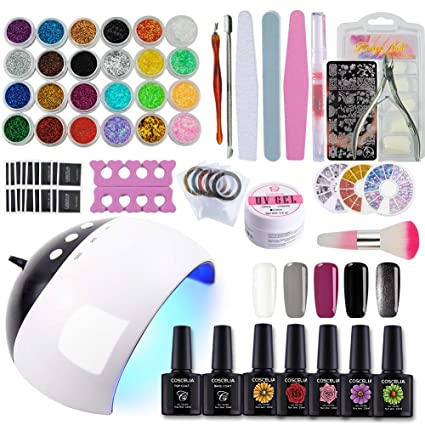 Coscelia 24W LED Lámpara Secador de Uñas 5PCS Esmaltes Semipermanente Gel Uñas 10ml Top Base Kit