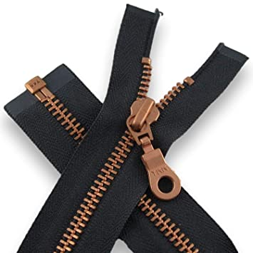 de2c1ab881 YKK Reißverschluss Kupfer Metall teilbar 40cm Anthrazit Grau Jacke Mantel  Tasche