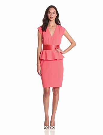 ERIN erin fetherston Women's Cap Sleeved Wrap Dress With Peplum, Georgia Peach, 12