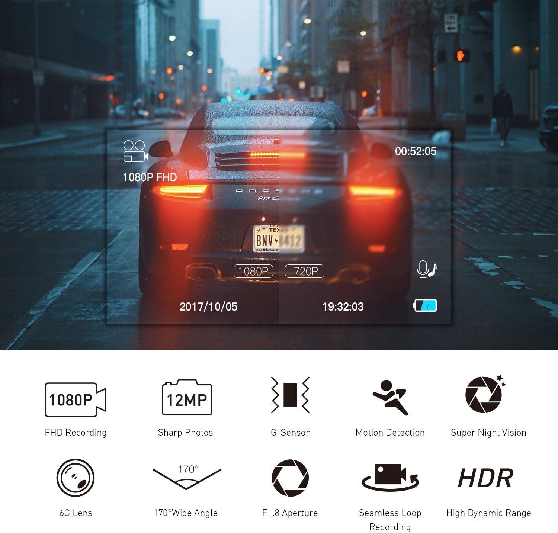 Crosstour en Cam/éra de Voiture 1080p Full HD avec /écran LCD 6,9/cm Capteur Sony HDR et d/étection de Mouvement Dash Cam