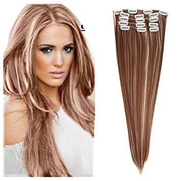The Best 7pcs Clip in Hair Extension Placement Look Real Synthetic Hair  Accessories for Women Fashion b3e03bb7f