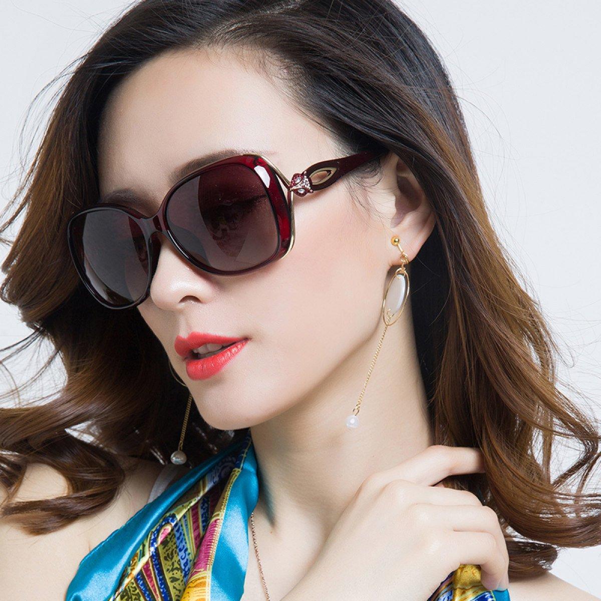 LQQAZY Gafas De Sol Polarizadas Hembra Cara Redonda Caja Grande Gafas De Sol Marea Personalidad Elegante Gafas Retro,Blue: Amazon.es: Jardín