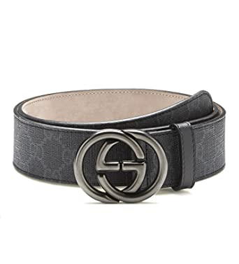 6f8054bb6e1 Gucci GG supreme belt with interlocking g buckle leather men s 295777  (black)