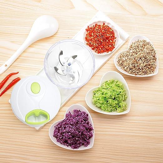 ... 5 Cuchillas de Acero Inoxidable, Picadora de Alimentos para Picar Frutas, Verduras, Frutos Secos, Hierbas, Cebolla para la Salsa, Ensalada, 1000ml .