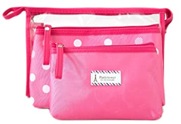 a5b692195f34 Amazon.com   Zhoma 3 Piece Waterproof Cosmetic Bag Set - Makeup Bags And Travel  Case - Rose   Beauty