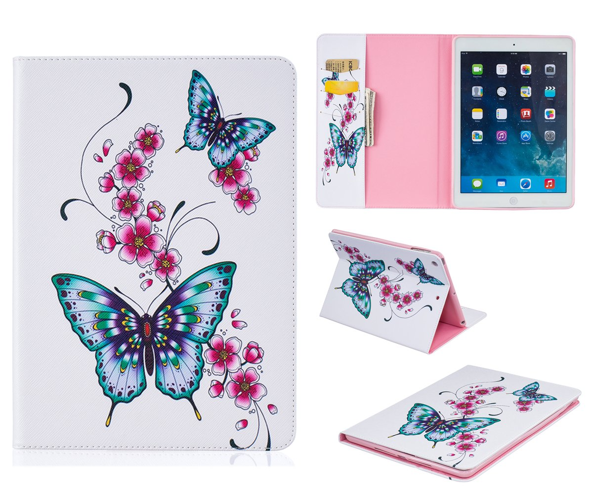 /Étui en Cuir Coque pour iPad Air - Fleur blanche JIEAO Stand Case Cover Coque iPad Air 2013 Mod/èle