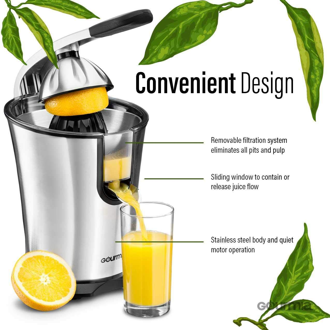 Gourmia EPJ100 Electric Citrus Juicer Stainless Steel 10 QT 160 Watts Rubber Handle and Cone Lid for Easy Use One-Size-Fits-All Juice Cone