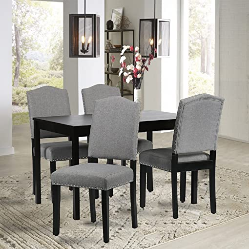 BestMassage Dining Chairs Armless Room Chair Accent Kitchen Solid Wood Living Modern Style