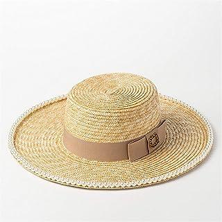 CFHJN Home Sombrero de Paja con Cabeza Plana incrustada para el Sombrero de Paja de sombrilla de Playa de Lady de Tourist (Color: Negro)