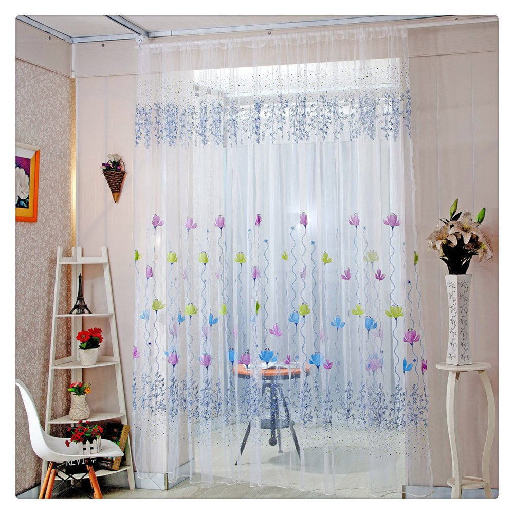 Amazon com litetao lotus sheer soft curtain tulle modern window treatment voile drape valance for home office decor blue clothing