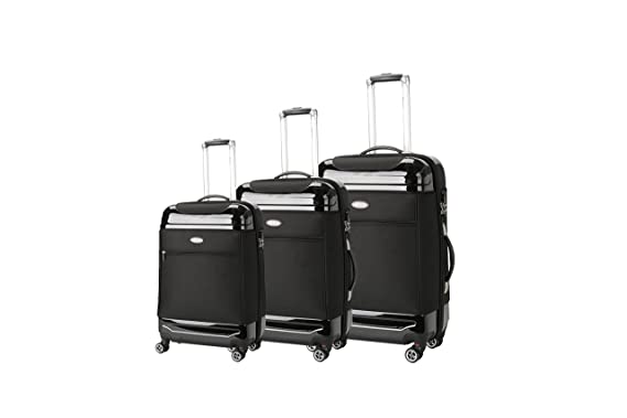 96c5047f6 Brio Luggage Hybrid Hardside and Softside Expandable Suitcase Set #AE1116  (Black)