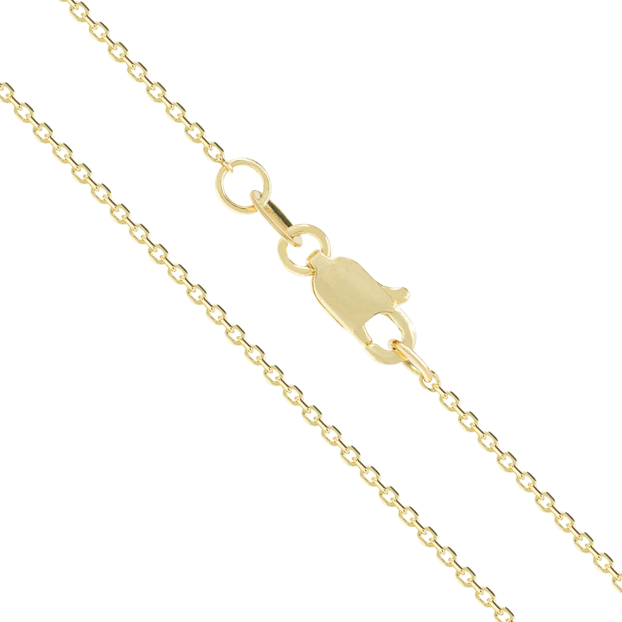 14K Solid Yellow Gold 30 Gauge 0.8mm Cable Chain Necklace - 20 Inches
