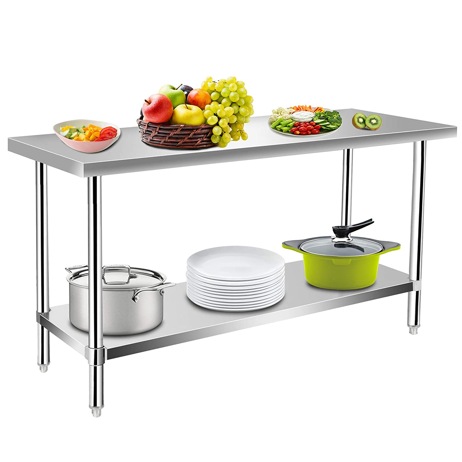 Commercial Kitchen Prep & Work Table, KITMA Stainless Steel Food Prep Table, 36 x 24 Inches,NSF