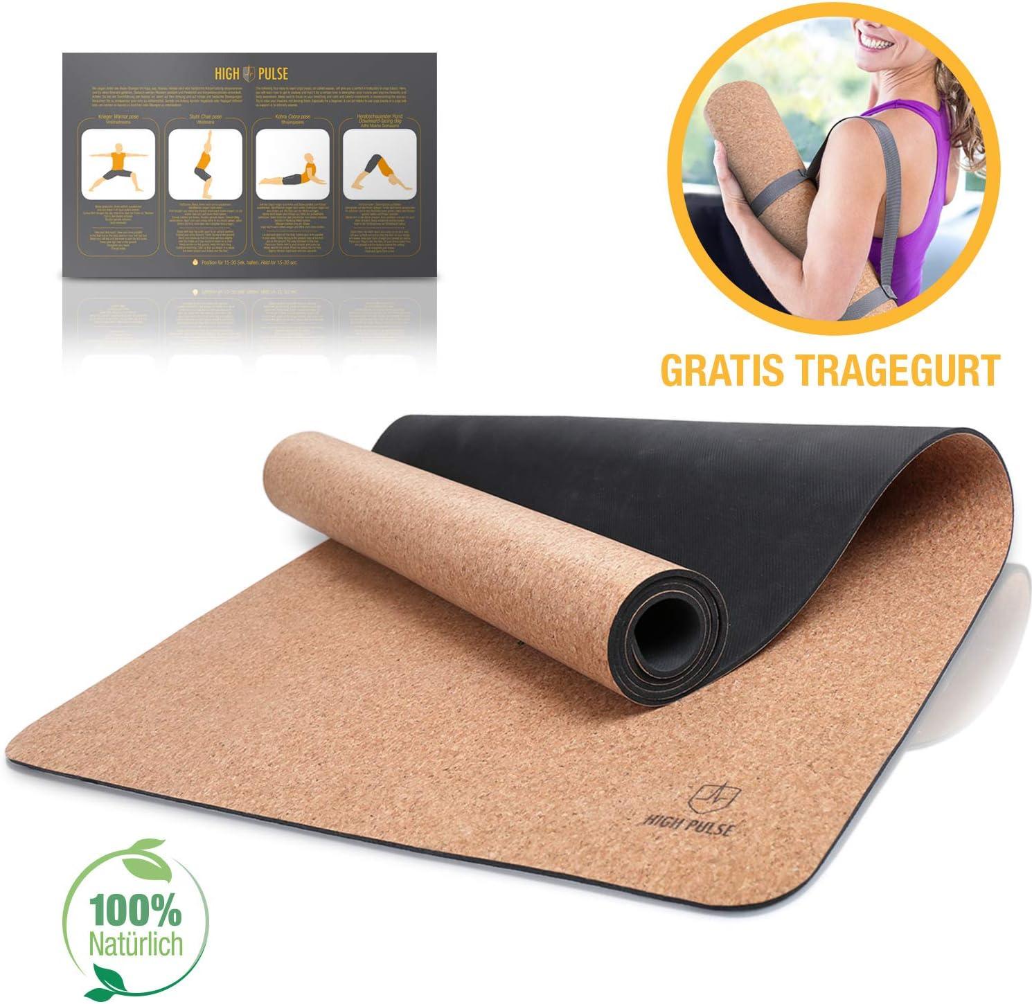 ligera y plegable High Pulse Yoga Mat Con Gu/ías cintur/ón de transporte 100/% sostenible De corcho y goma Extra fina pilates y fitness Esterilla antideslizante para yoga