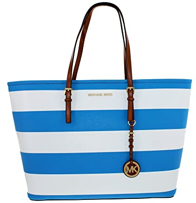 Michael Kors Jet Set Medium Stripe Travel Tote (Blue White)  Amazon ... deb017efab1ac