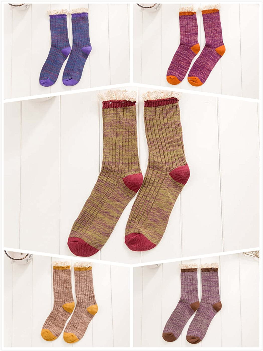 Santwo Color Block Warm Wool Blend Knited Lace Trim Hold-up Boot Crew Sock Winter 5 Pairs